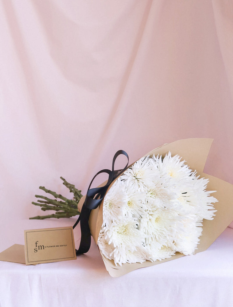 Chrysanthemum Spider White Disbud Mum Bouquet. Wrapped brown kraft paper black ribbon. Flower Me Softly florist card Melbourne delivery