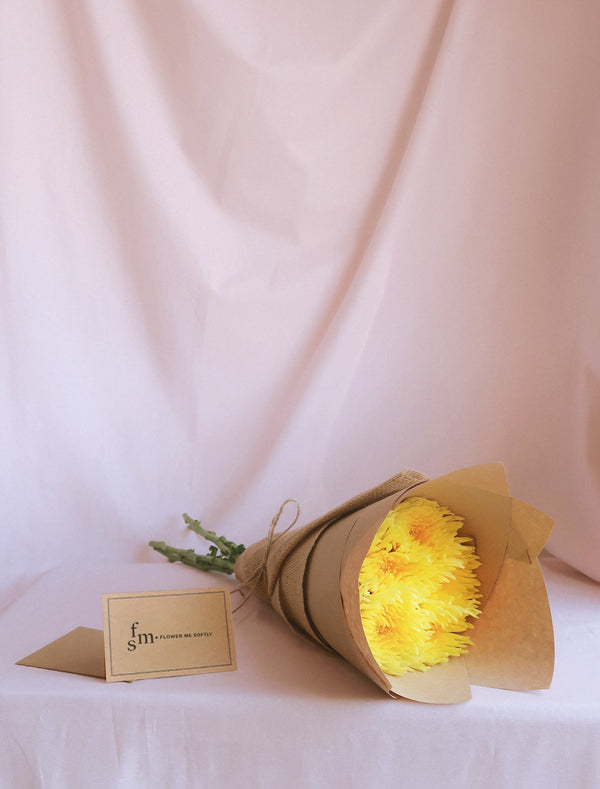 Chrysanthemum Spider Yellow Disbud Mum Bouquet. Wrapped brown hessian burlap.Flower me softly florist card Melbourne delivery