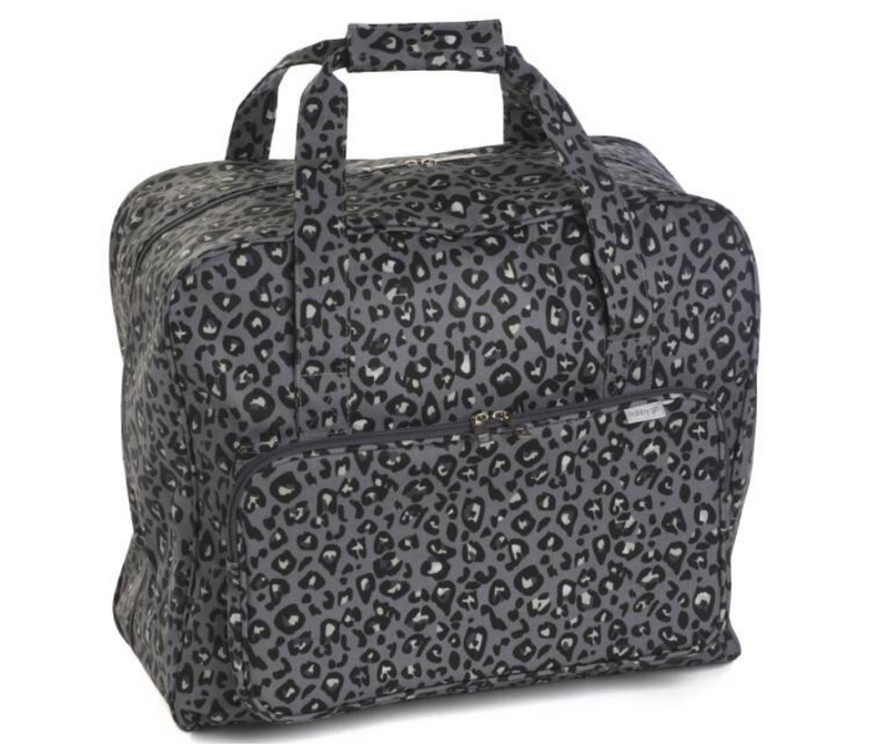 Hobbygift Sewing Machine Carry Bag Grey Leopard Print