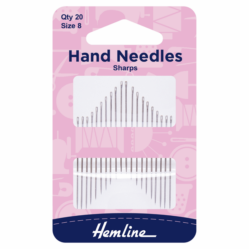 Hemline Sharps Hand Sewing Needles. Size 8