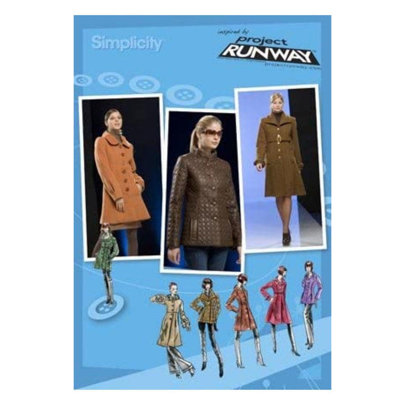 Simplicity 2812 Project Runway Misses' Lined Coat in 2 Lengths and Jacket with Collar Variations, Size D5 (4-6-8-10-12) by Project Runway