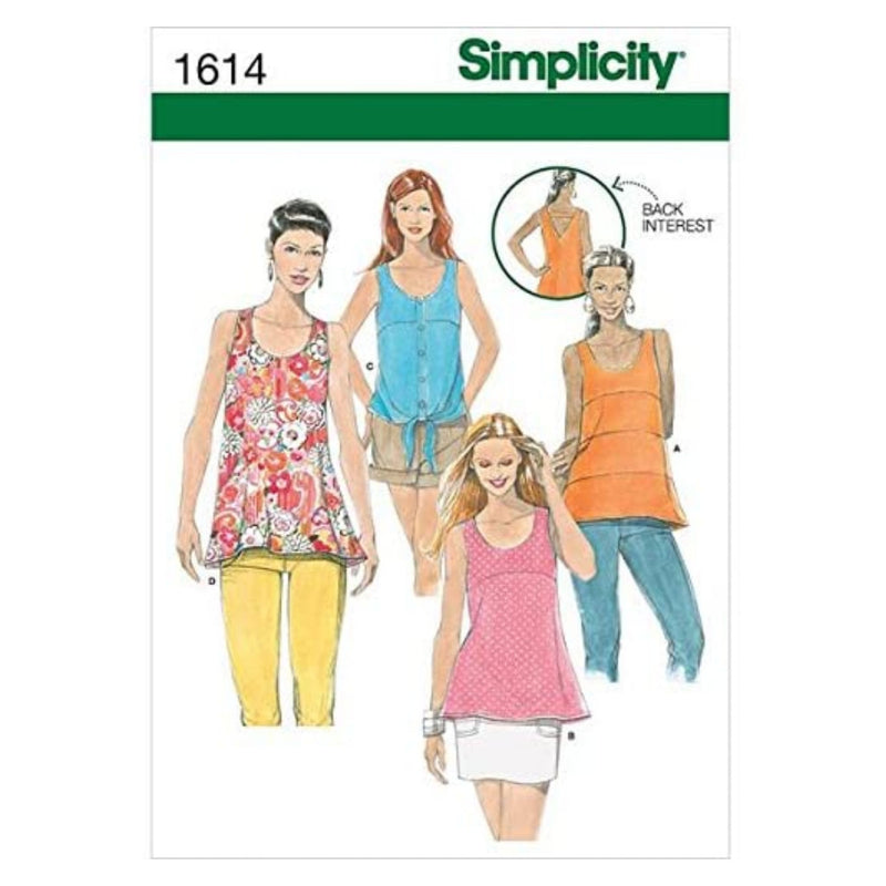 Simplicity Creative Patterns 1614 Misses' Tops with Back Details, D5 (4-6-8-10-12)