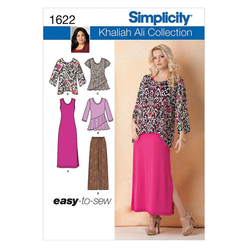 Simplicity Khaliah Ali Pattern 1622 Misses Easy to Sew Pants, Loose Fitting Tunic and Knit Tank Dress or Top Sizes 10-12-14-16-18