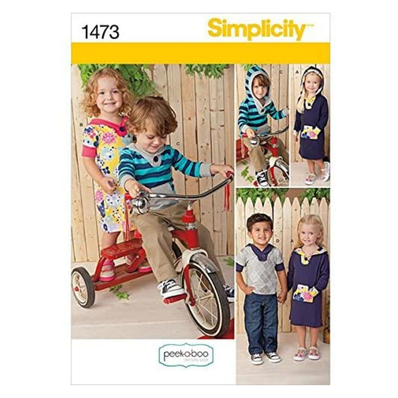 Simplicity Peek-a-Boo Pattern 1473 Toddlers Knit Hooded Dress and Top Sizes 1/2-1-2-3-4