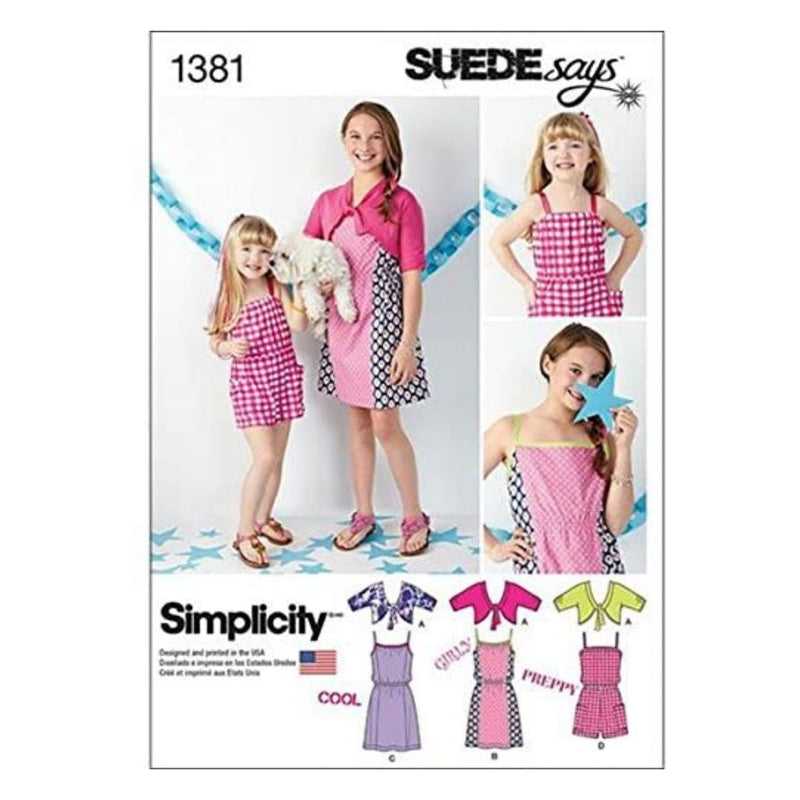 Simplicity SUEDE Says Pattern 1381 Girls Dress, Romper and Knit Cardigan Sizes 7-8-10-12-14