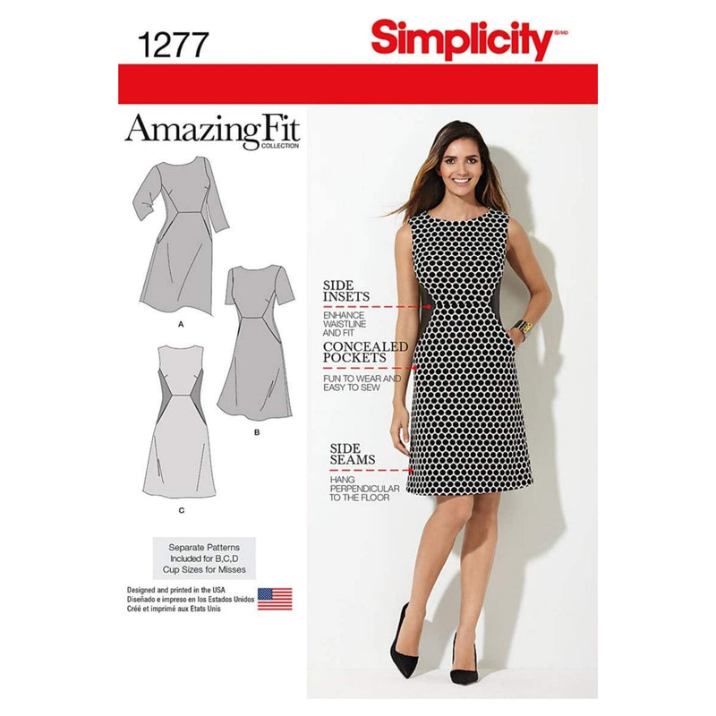 Simplicity Sewing Pattern 1277: Miss and Plus Amazing Fit Dress, Size AA, Paper, White, (10-12-14-16-18)