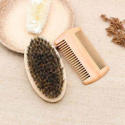 Wooden Beard Brush Kit