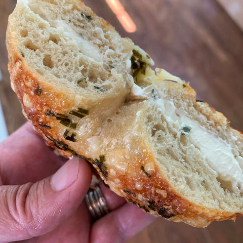 Cheddar Chive Bagel with cream cheese