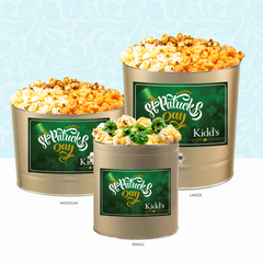 Gourmet popcorn 3 way tin and Butterscotch  Popcorn in Gold St. patrick's Day Tin
