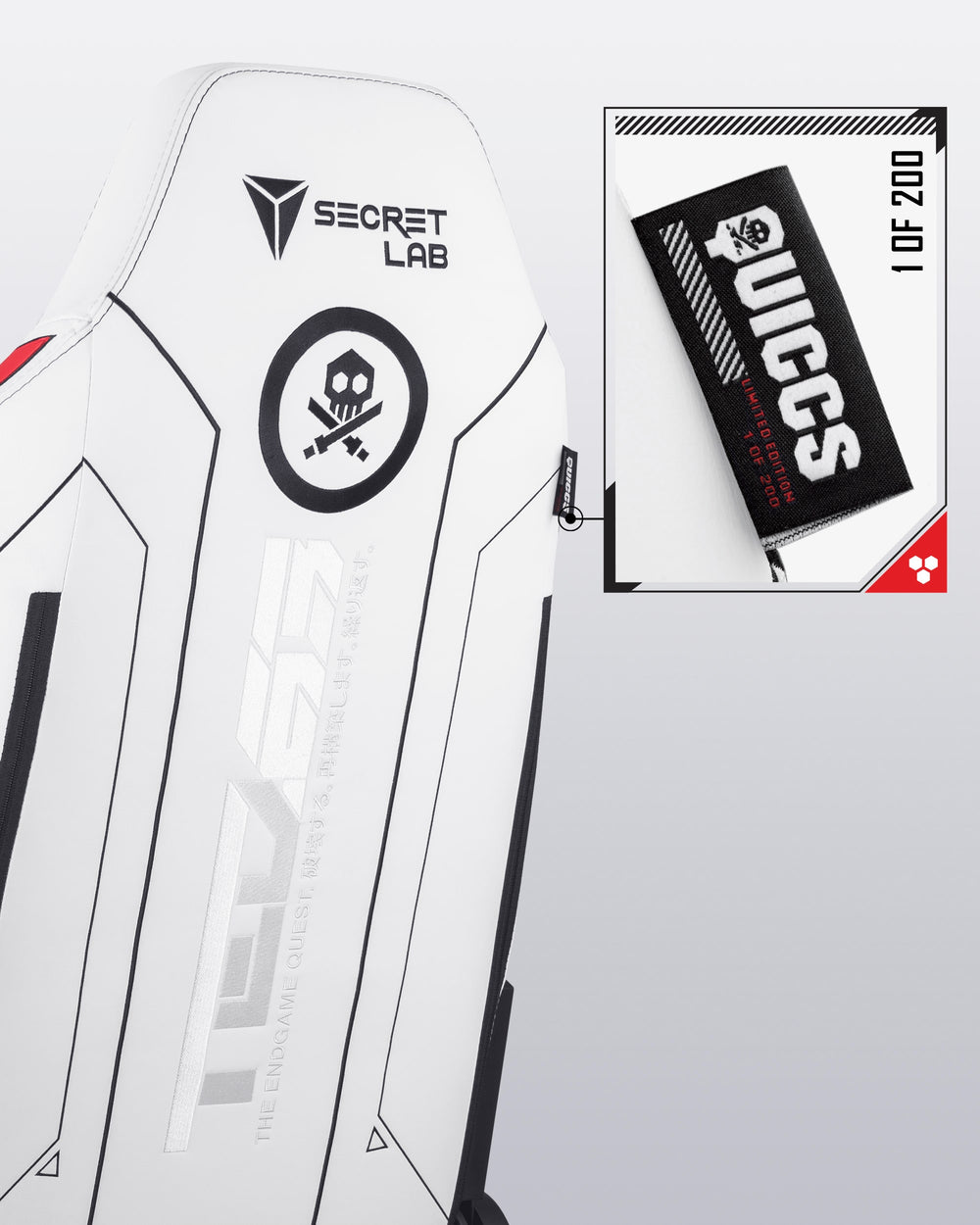 Back view of Secretlab QUICCS Edition with limited edition label