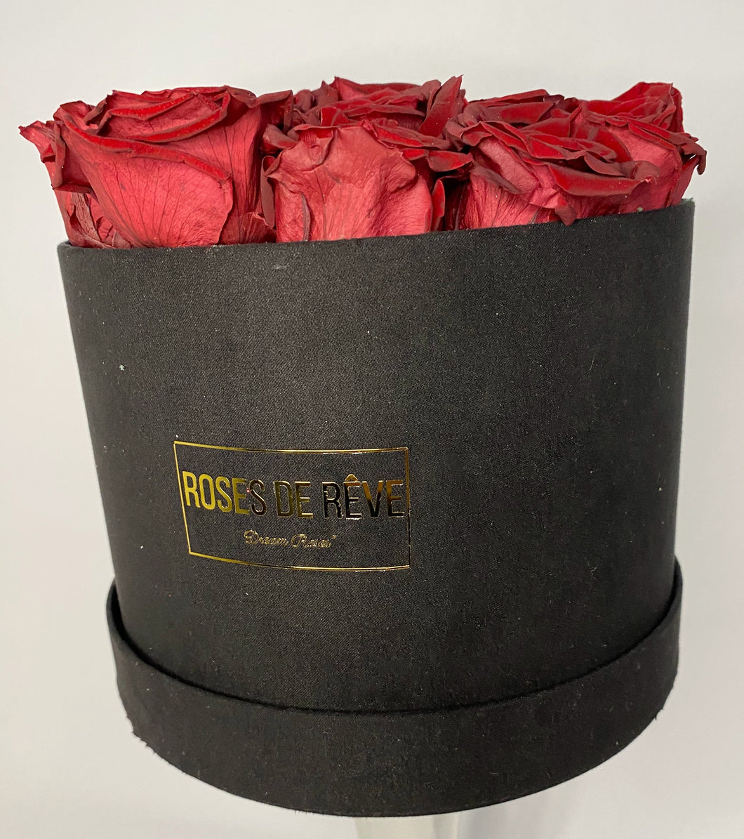 Small Suede Round (Red Roses)
