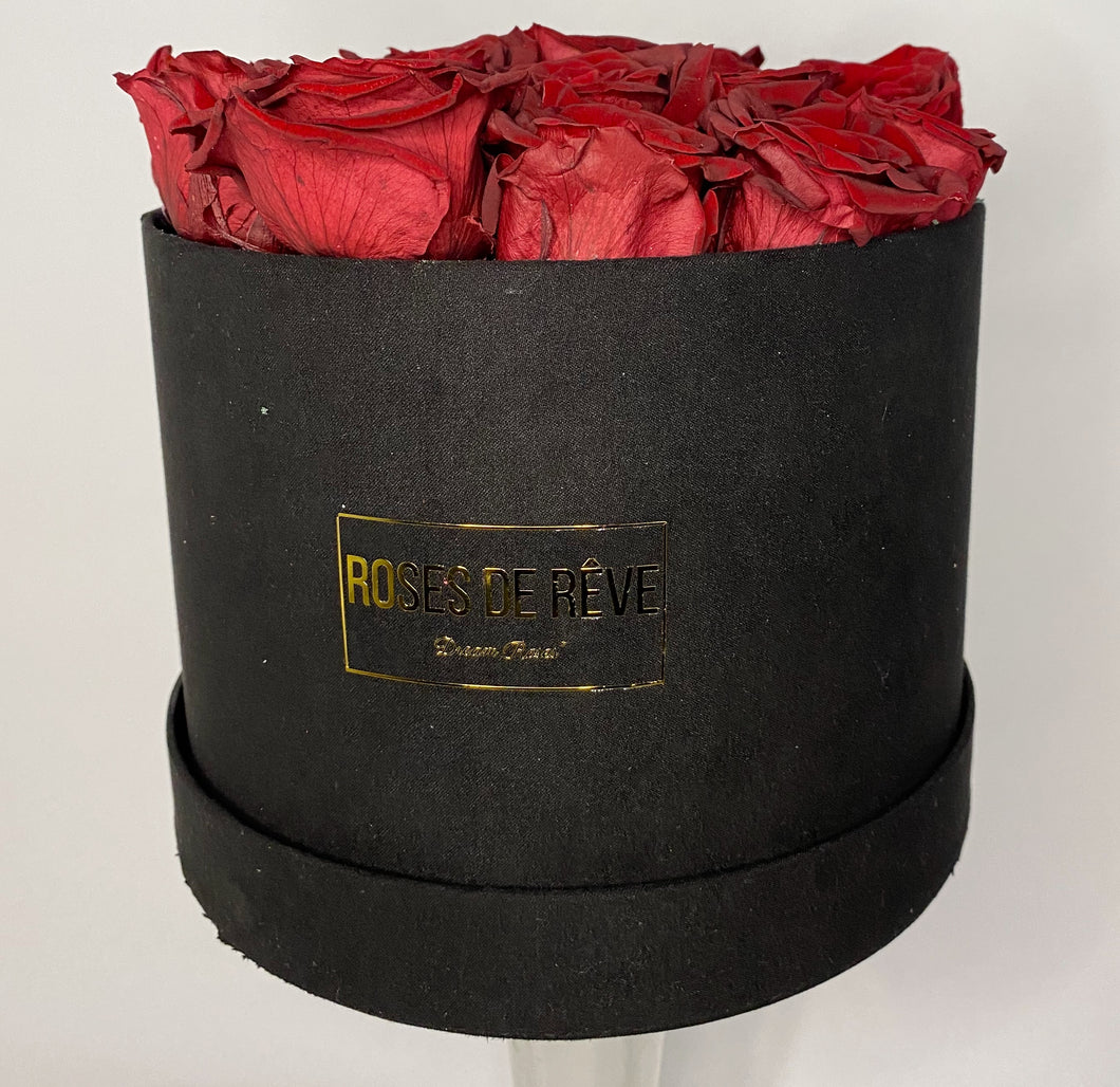 Large Suede Round (Red Roses)
