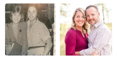 Lucas and Heather then and now