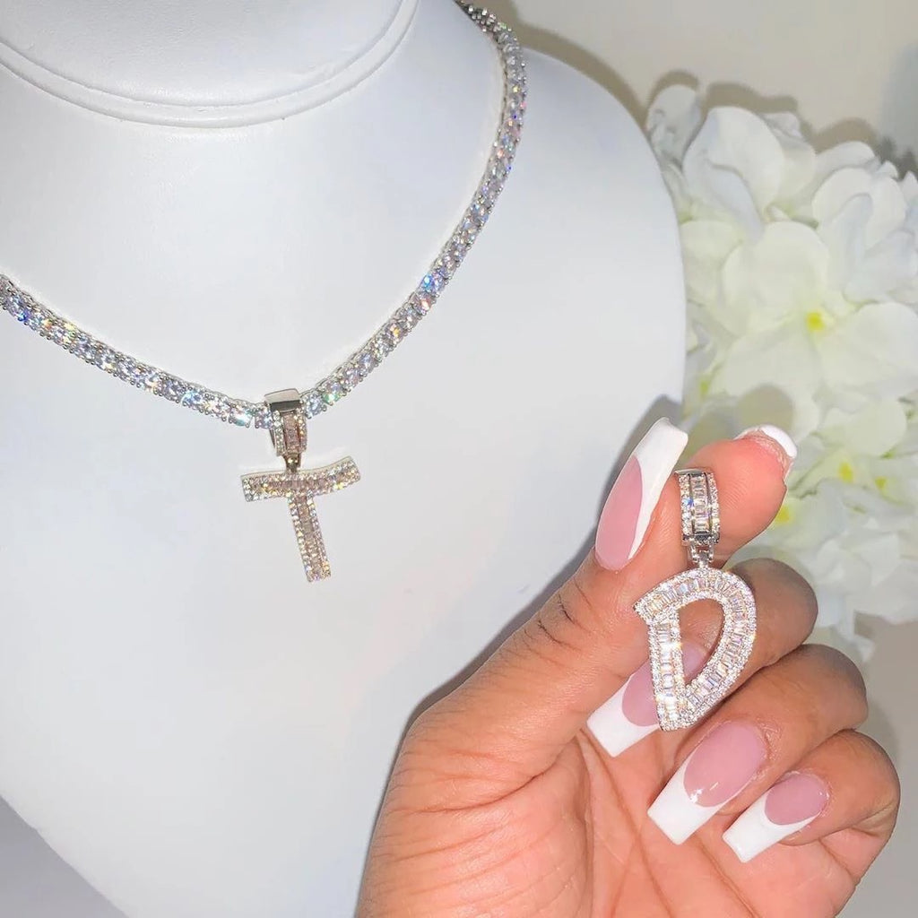 Baguette Bling Initial Necklace