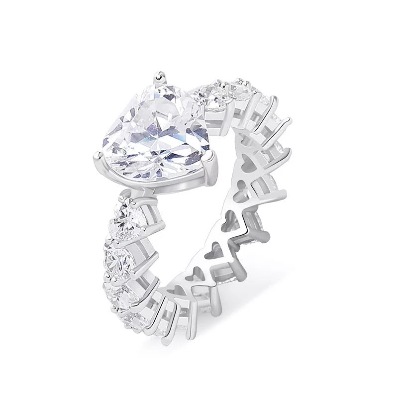Iced Out Heart Ring