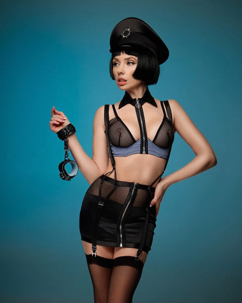 Laying Down The Law Police Girdle , Bra & Collar Set