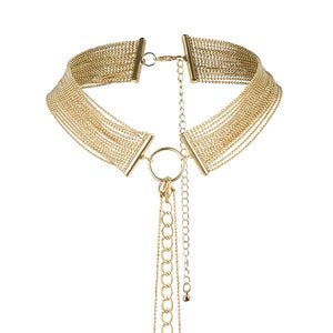 Bijoux Metallic Chain Choker Harness Gold