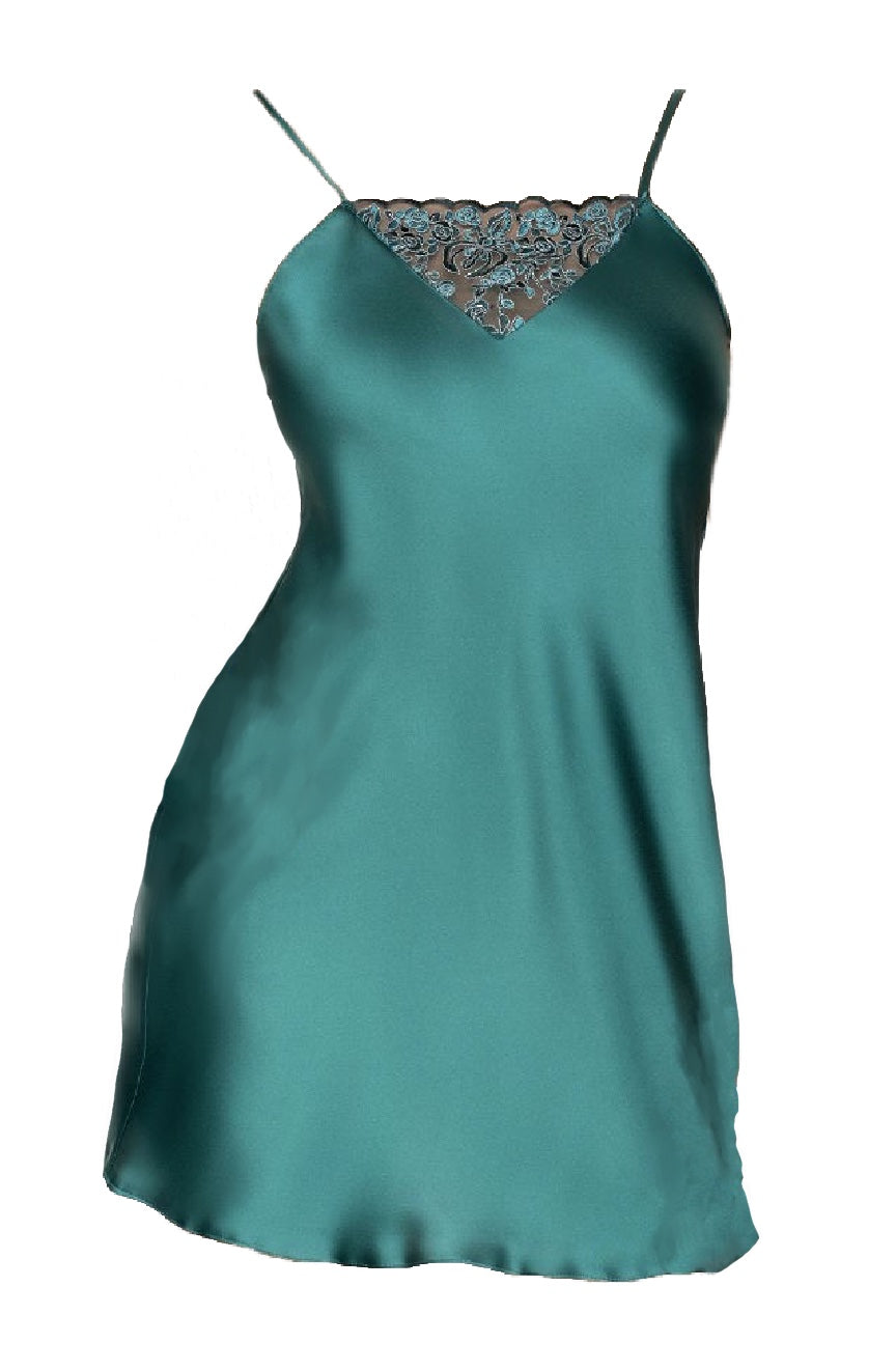 Mini Emerald Silky Satin Slip With Lace