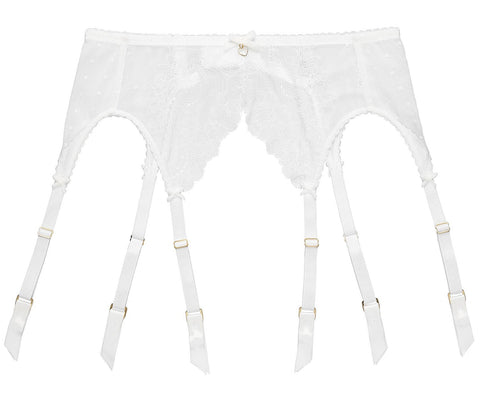 Fiamma White Lace & Polka Suspender Belt