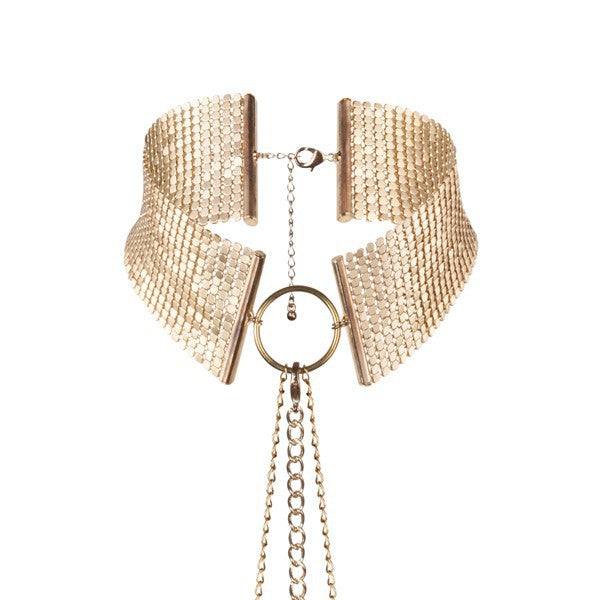 Bijoux Metallic Mesh Choker Chain Harness Gold