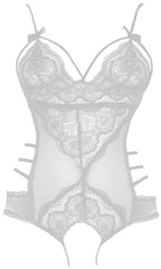 White Paris Lace Open Crotch Body