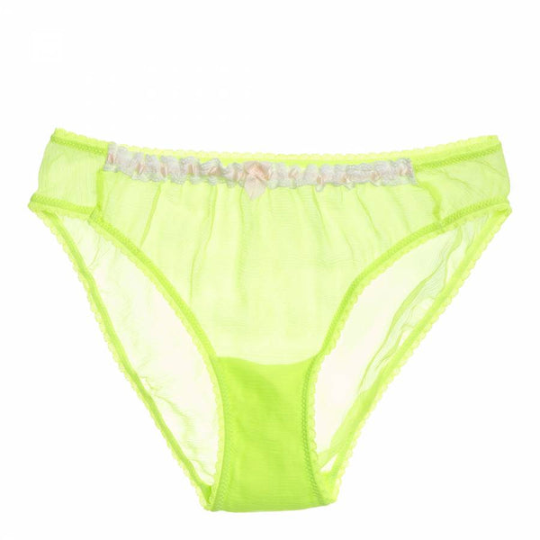 Mimi Nymph Lime Silk Briefs (S)