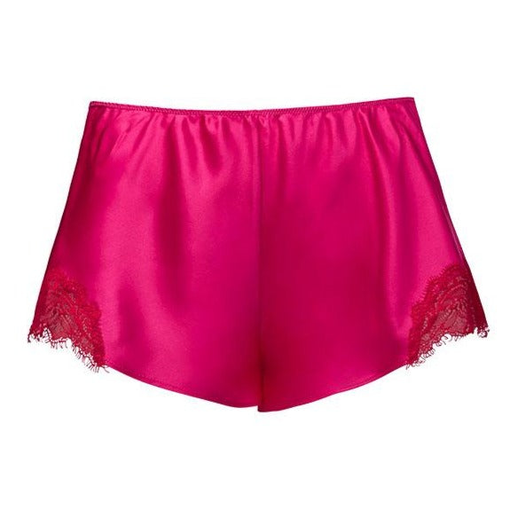 Sainted Sisters Silk Eyelash Lace French Knickers - M (Fuchsia / Chilli) Last One!