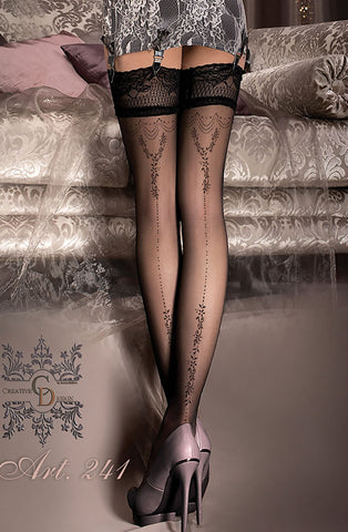 Sexy Sheer Ornate Floral Stockings - She Said Boutique - 1