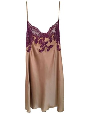 Champagne Silk Slip with Lavender Lace Applique by Marjolaine