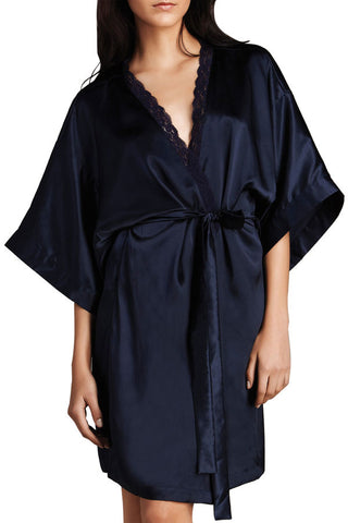 Pure Silk Clara Robe (Navy)