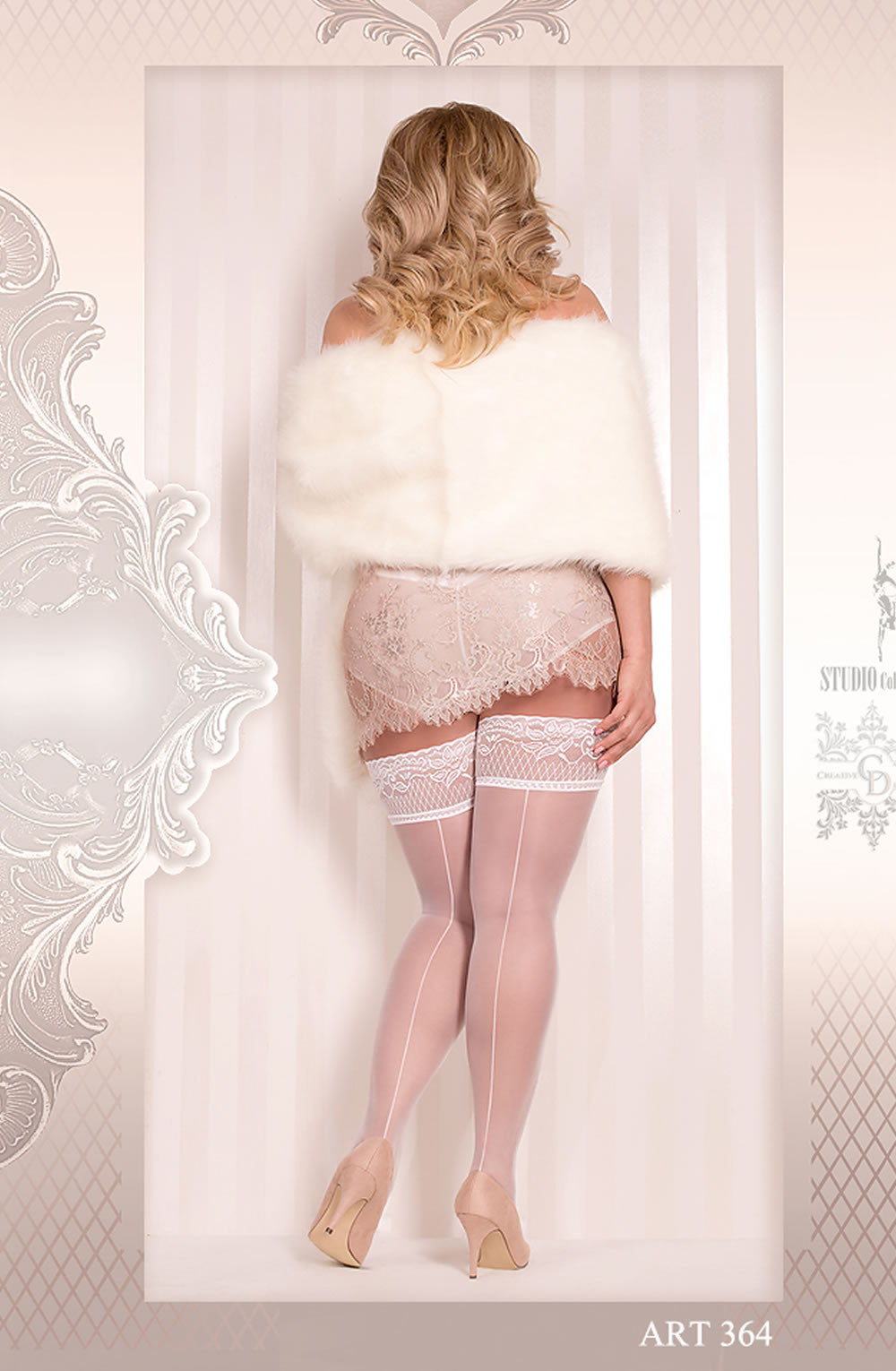 Decorative Bridal Hold Ups White (Queen)