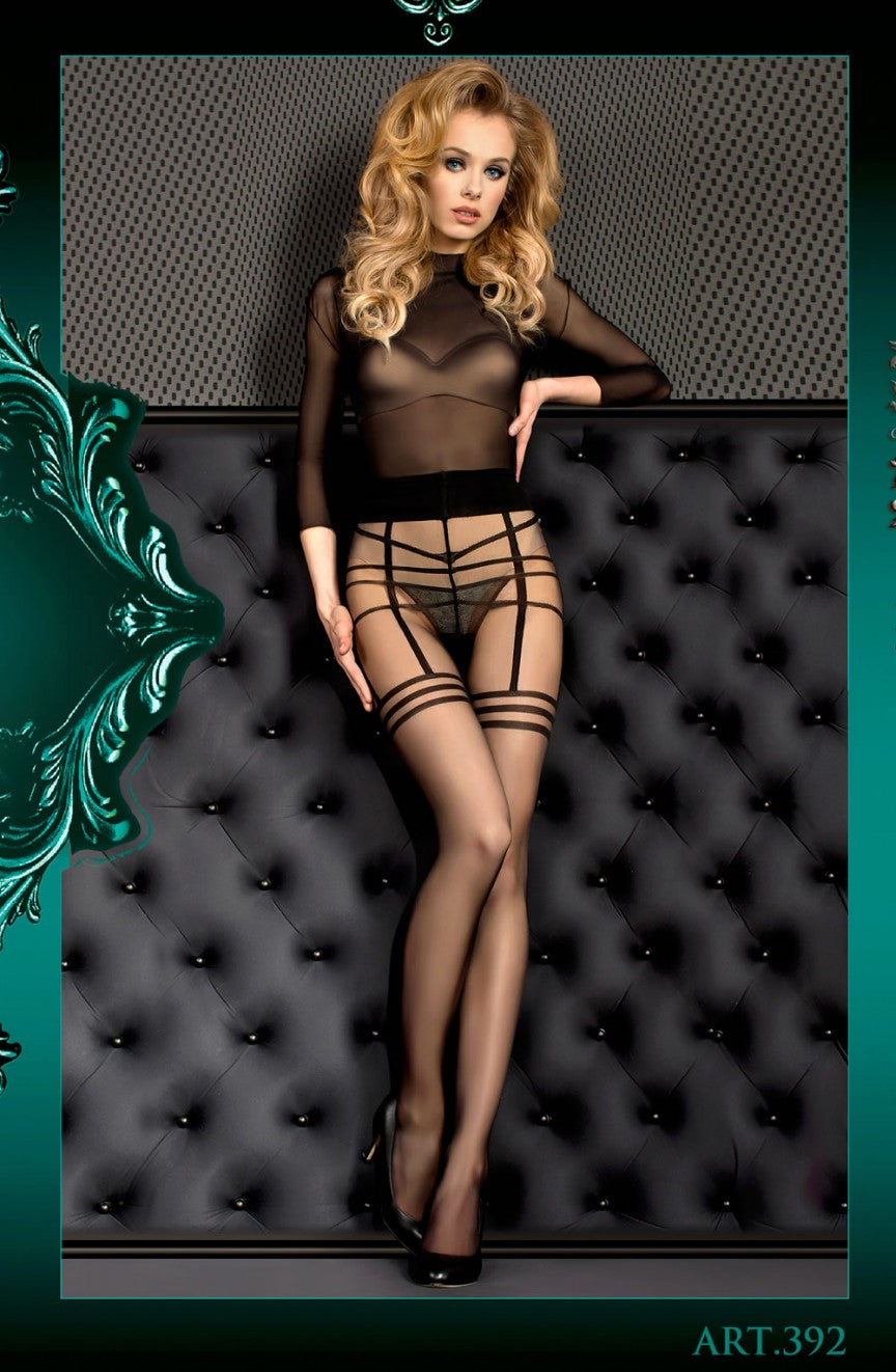 Nude Faux Strappy Suspender Tights