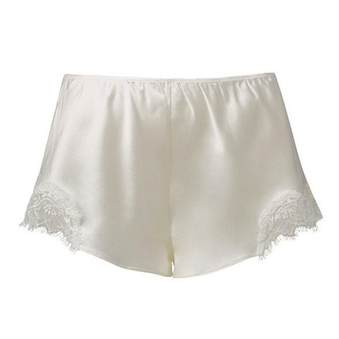 Sainted Sisters Silk Eyelash Lace French Knickers (White)