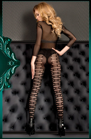 Stunning Black and Nude Printed Tights