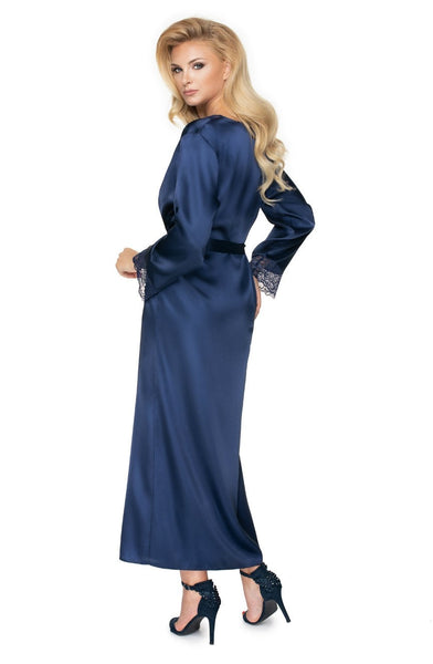 Raven Silky Satin Robe In Navy