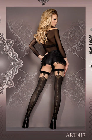 Ornate Sheer Black and Nude Stockings