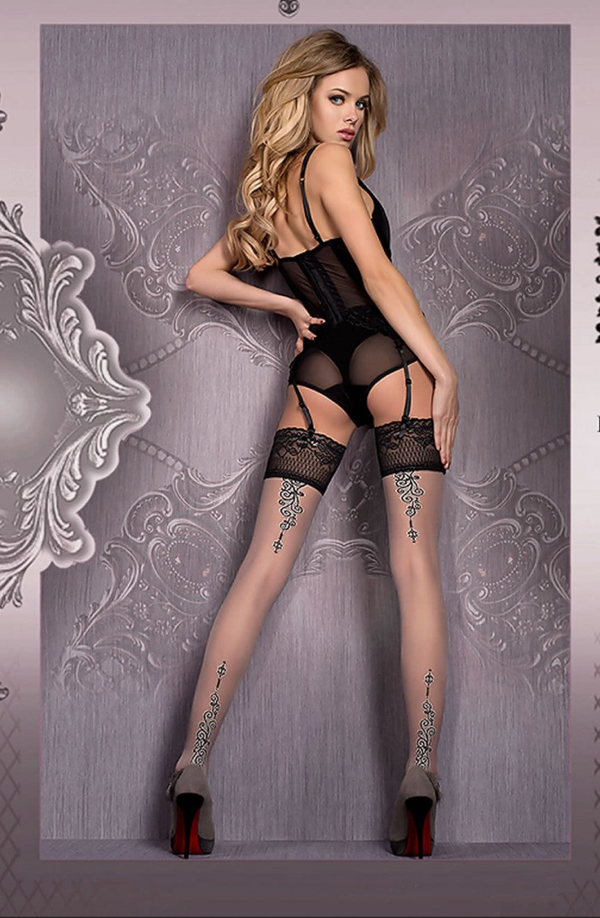Decorative Grey and Nude Hold Ups