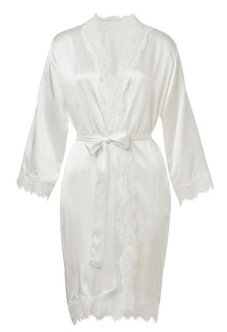 Sainted Sisters Silk & Eyelash Lace Wrap Robe