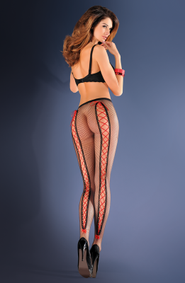 Erotica Red Ribbon Fishnet Tights - She Said Boutique - 1