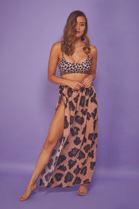 Long Beach Side Tie Sarong Leopard