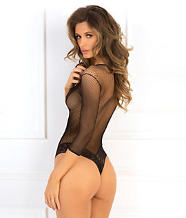 V Neck Long-sleeved Fishnet and Lace Teddy