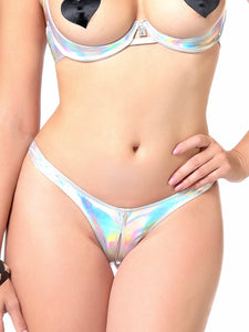 Annabelle Holographic Irridescent Open Crotch Thong