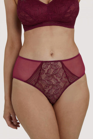 Emma Lace  Merlot Highwaist Briefs (8-20)