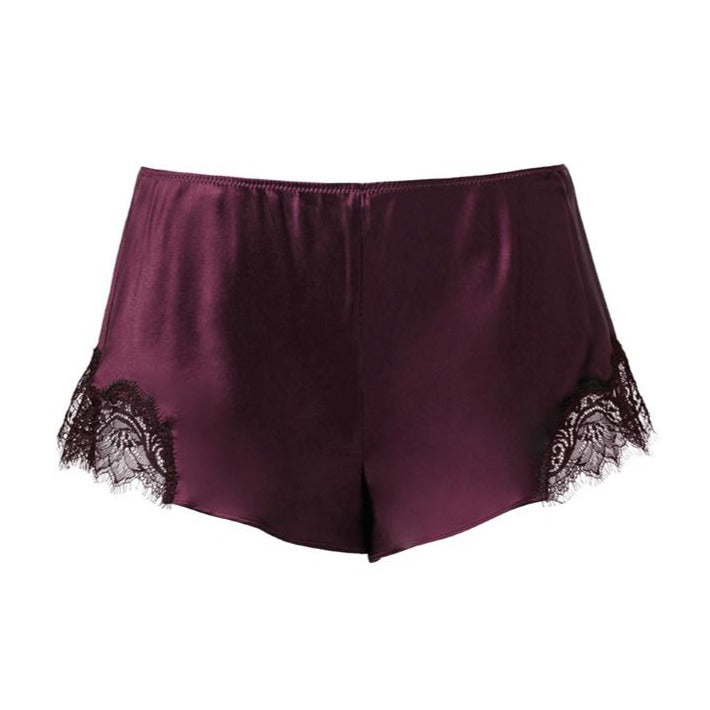 Sainted Sisters Silk Eyelash Lace French Knickers (Deep Plum)