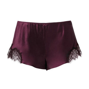 Sainted Sisters Silk Eyelash Lace French Knickers (Plum)