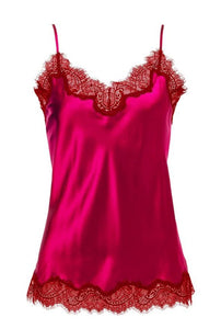 Sainted Sisters Silk Eyelash Lace Cami (Fuchsia / Chilli)