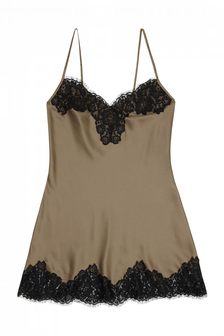 Cappuccino Silky Slip with Eyelash Lace Trim