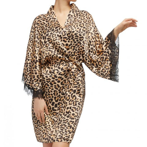 Sainted Sisters Silk & Eyelash Lace Kimono Robe in  Leopard
