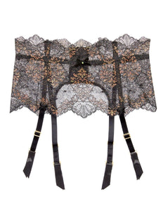 Lurex Black Iridescent Suspender Belt