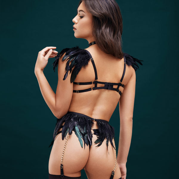 Black Swan Ouvert Thong, Halter Bra & Belt Set